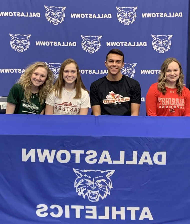 Abbey+Alex%2C+Gabe+Wunderlich%2C+Abigail+Herbert%2C+and+Kanann+Gemmill+are+four+Dallastown+student-athletes+who+signed+National+Letters+of+Intent+on+Feb.+5.+These+athletes+will+be+attending+college+in+Fall+to+continue+their+sports+and+further+their+academic+studies.